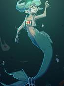 被海洋垃圾污染后的小美人鱼